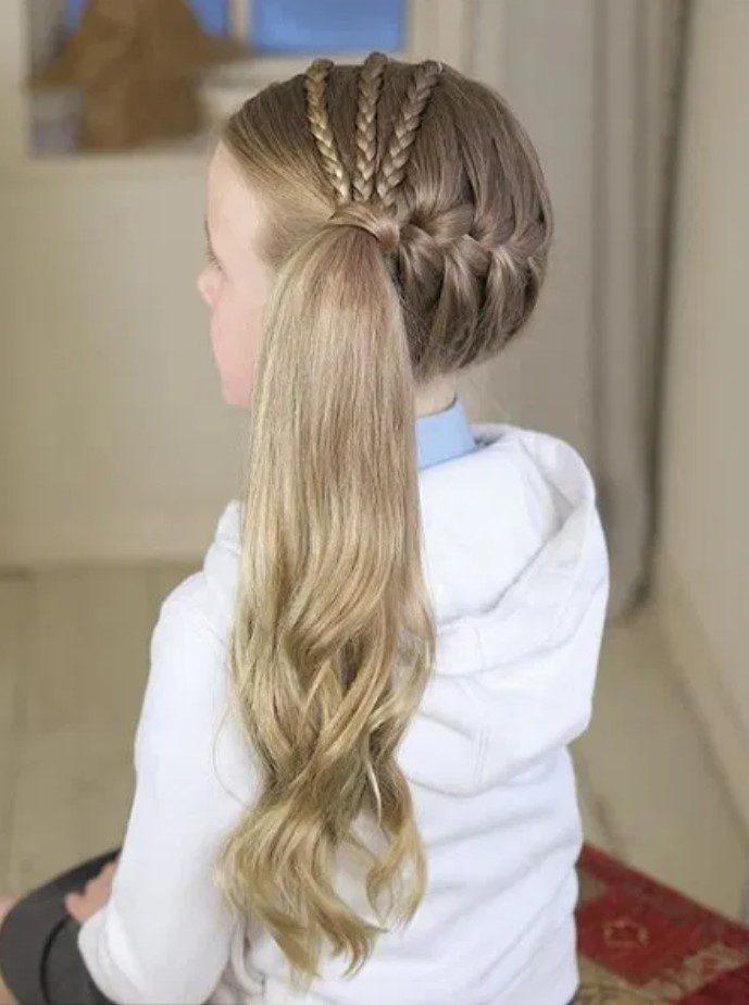 3lü kız örgülü saç modeli